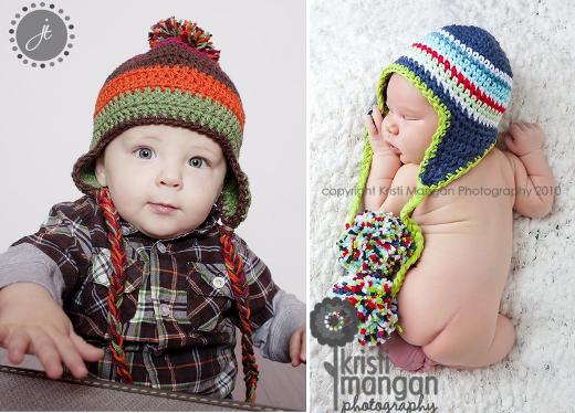 Patrones crochet: gorros con orejeras para niños y bebés ...