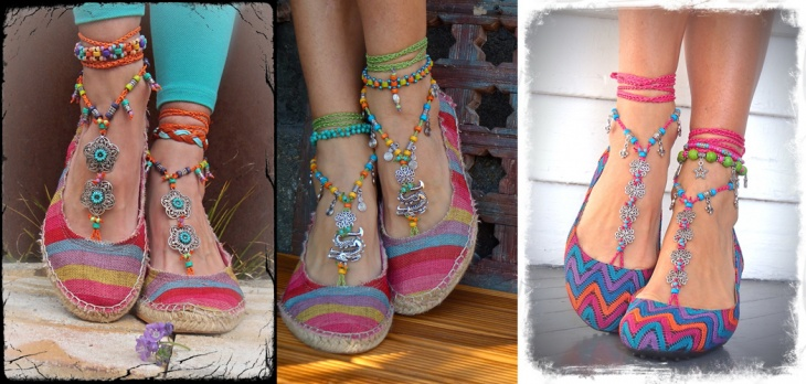 Sandalias descalzas: crochet, cuero, cadenas | diarioartesanal