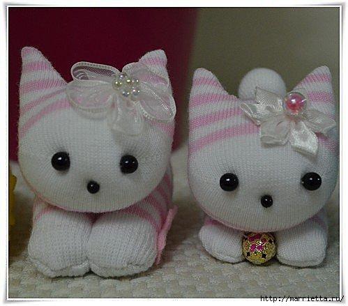 Como hacer gatos con calcetines imagui - Como hacer calcetines de punto ...
